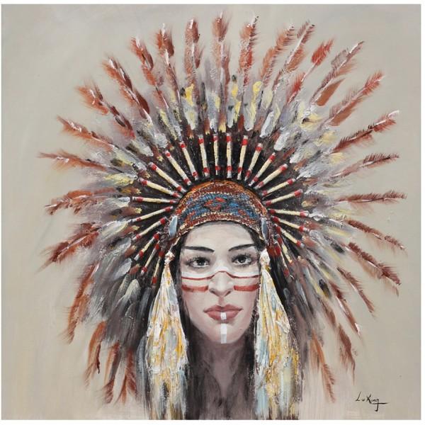 INDIAN GIRL HANDMADE ΠΙΝΑΚΑΣ 90x90x3,5cm