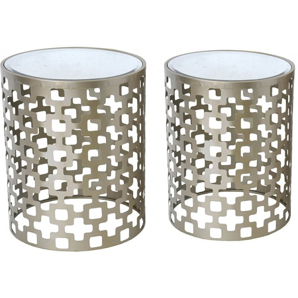 ORO SIDE TABLE SET 2ΤΕΜ CHAMPAGNE ΜΑΤ D44-38xH53,5-51,5cm