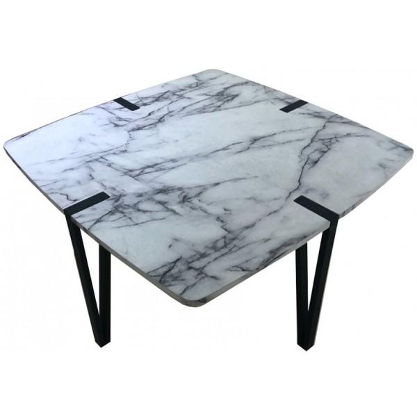 PETRA COFFEE TABLE ΜΑΥΡΟ/ΛΕΥΚΟ 80x80xH40cm