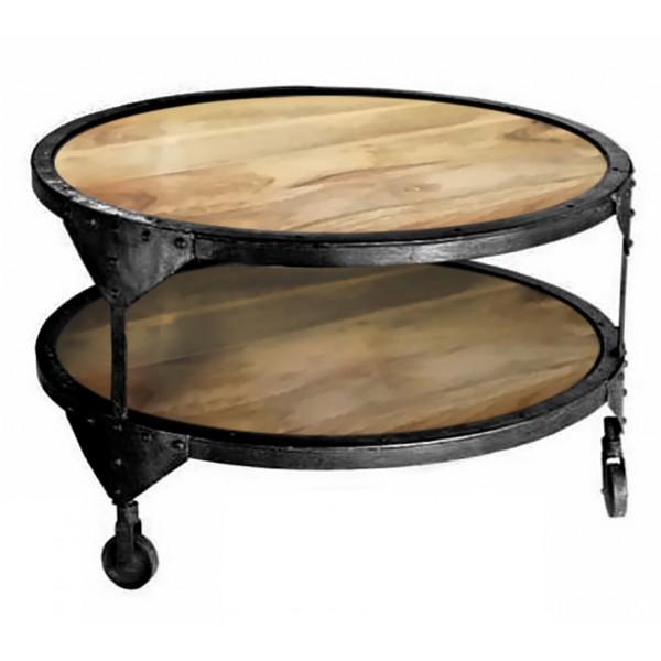 RUSTIC COFFEE TABLE ΦΥΣΙΚΟ ΑΣΗΜΙ ΣΚΟΥΡΟ D60xH45cm